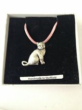 British Short Hair Cat PP-C03 Pewter Pendant on a PINK CORD Necklace