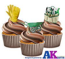12 X Gardener Gardening Tools Mix EDIBLE CAKE TOPPERS WAFER CARD STAND UPS