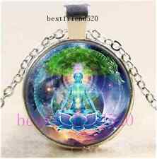 Ananda Mandala Meditation Cabochon Glass Tibet Silver Chain Pendant Necklace