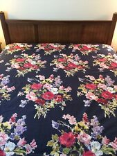 Pottery Barn Bed & Bath Full Queen Duvet Navy Blue Floral Vintage Bloom