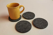Grey Felt Coasters Simple Shape Circle Felt Set of 4 NEW FELT 7mm Handmade Eire
