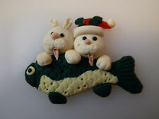 CLEARANCE 9 x Handmade Fimo Cats & Fish Christmas Card Toppers Embellishments