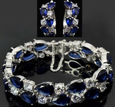 14k White Gold Bracelet Earring Set made w/ Swarovski Crystal Blue & Clear Stone