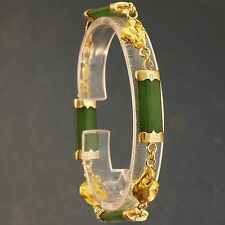 Rare, 18K Gold, New Zealand Greenstone & Genuine Natural Gold Nugget Bracelet