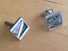Sterling Silver and Abalone Taxco Cufflinks Signed CJ