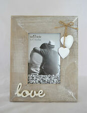 Love Photo Frame Natural Wood with White Hanging Hearts Wedding Engagement Gift