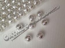 50 x Hollow Filigree Silver Plated Ball Spacer Beads 8mm - Jewellery Findings