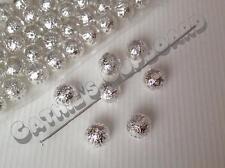 50 x bola hueca de filigrana de plata plateado espaciador granos 8mm-Joyería Hallazgos
