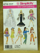 "SIMPLICITY PATTERN 4719 BARBIE DOLL CLOTHES BRIDE  11 1/2"" FASHION DOLL, UN-CUT"