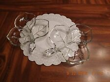 "Crystal Clear Leaf Design Divided 3 Section Nut, Candy, Relish Dish 7"" x 8"""