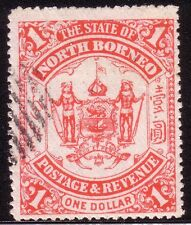 """NORTH BORNEO - 1894  1 DOLLAR """"ThE STATE OF..."""" UNLISTED ERROR/FLAW"""