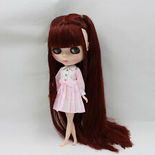 """12"""" Neo Blythe Doll From Factory Doll Pink Skin Long Wine Red Hair"""