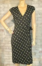 EUC CITY DKNY SZ S CASUAL CAREER TRUE WRAP STYLE DRESS BLACK WHITE FLORAL
