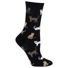 $30 HOT SOX Women 1 PAIR PACK Dress Casual CREW SOCKS Cat Print Cotton SHOE 4-10