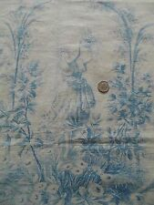 "Antique French 19thC Blue&White Cherub/Cupid &Girl Floral Toile Fabric~30""LX33""W"