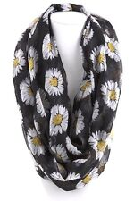 B20 Eternity Sunflower Infinity Large Scarf Black White Yellow Boutique