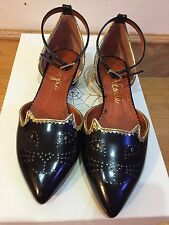 Charlotte Olympia Brogue Kitty Patent Leather Ballerinas Flats Shoes $665