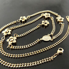 A625 GENUINE REAL 18K YELLOW G/F GOLD LADIES MOTHER MARY PENDANT NECKLACE CHAIN