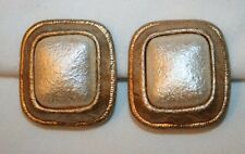 Handsome Cream Centers Squared Rim Goldtone CLIP Earrings ++++