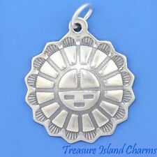 NATIVE AMERICAN SUN FACE .925 Solid Sterling Silver Charm Pendant SUNFACE