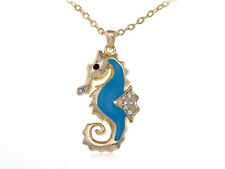 Gold Tone Petite Clear Rhinestone Crystal Blue Enamel Sea Horse Pendant Necklace