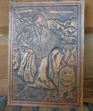"""Vintage Folk Art TOOLED LEATHER INDIAN & BABY SIGNED K. MIMMS PORTRAIT 6""""x 8.5"""""""