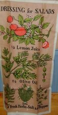 2 Vintage linen ? kitchen  tea towels maple syrup & dresssings for salad EUC