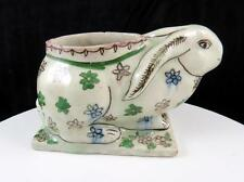 "ART POTTERY CERAMIC ANTIQUE HAND PAINTED FLORAL 6 1/4"" RABBIT FORM PLANTER VASE"