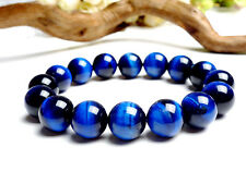 Genuine Natural Blue Tiger's Eye Gemstone Round Beads Bracelet 16mm