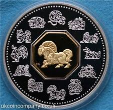 2002 Canada Lunar Horse Silver Proof $15 Coin Boxed certificate