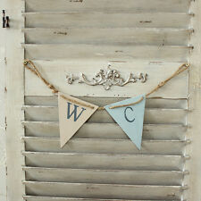 Wooden bathroom 'WC' Bunting Door Sign wall plaque toilet home work vintage