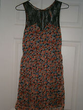 "BERSHKA Chiffon Blue / black / orange Tea Dress  - SIZE 8 ( EUR Size 26"")"