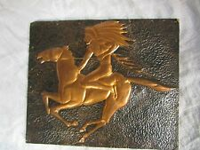 Antique Vintage Embossed copper Indian Native WALL plaque handmade ART relief