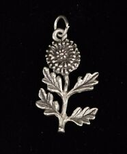 "Silver Unmarked Zinnia Flower Charm Pendant 2.93 g Very Cute .64""W x 1.08""L"