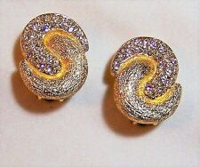 Christian Dior Crystal Rhinestone Clip On Earrings Nordstrom Gold Tone 1112FGZ