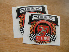 x2 decals - ISLE OF MAN RACES 2013 crest/shield - size 58mm