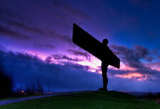 Framed Print –  Purple Sky Over The Angel Of The North (Iconic Landmark Picture)