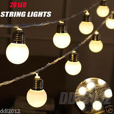 20 LED Color String Fairy Lights For Xmas Wedding Outdoor Party Decor Bulbs