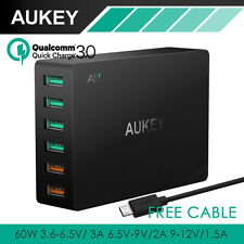 GENUINE Aukey 60W 6 Port USB AC Wall Fast Charger QC 3. Dynamic 3.2V-12V 5V/2.4A
