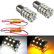 2X 1157 Switchback White Amber Dual Color LED Bulb Turn Signal Light + Resistors