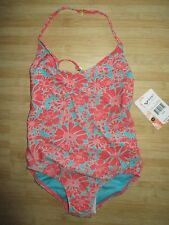NEW* ROXY SWIMSUIT 1 PC $44 Retail GIRLS 10 Sun Coral Floral