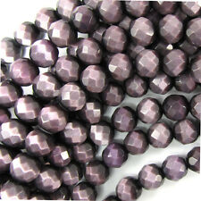 "8mm faceted fiber optic cats eye round beads 14.5"" strand purple"