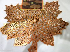 New Fall Thanksgiving Vinyl Orange Maple Leaves Placemats Decorations Set of 4