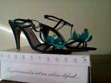Escarpins LOLLIPOPS en 40 bleu fleurs turquoise paillettes chaussures de fête