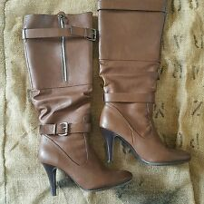 Brown tan calf-length boots from Betts, buckles, zip, heel, size 9