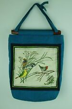 Vintage Wood Slide Frame Beach Tote Knitting Bag Blue Cloth Bird Design Handmade