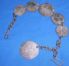 alte Uhrenkette/Chatelaine/Trachtenkette versilbert (da2948)