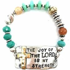 WESTERN COWGIRL HAMMERED CROSS LORD TURQUOISE BEADED STRETCHABLE PRAYER BRACELET