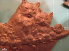 vintage antique Kittens Cats in Basket copper part jewelry making finding old