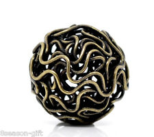 20 Bronze Tone Hollow Twist Ball Wire Beads 18mm